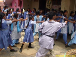 School Girls Kung-fu Self-Defense Training Master