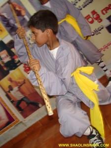 Shaolin Monk Wushu Gun Training