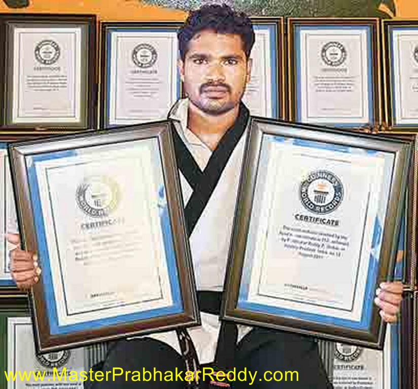 Indian Best Martial arts Master Prabhakar Reddy 22 Guinness Records Holder